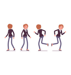 Set of female manager in walking running poses vector