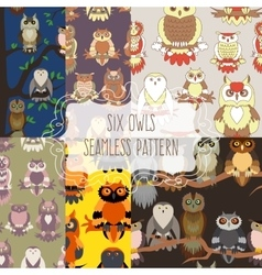 Set of six seamless patterns with birds vector image