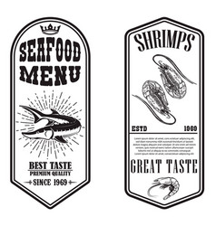 set seafood flyers with shrimp and fish vector image
