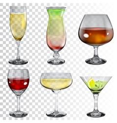 Set transparent glass goblets vector