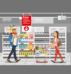 Shopping food on sale cartoon concept vector