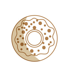 Silhouette delicious sweet donut bakery snack vector