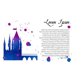 Silhouette watercolor of a medieval castle vector image