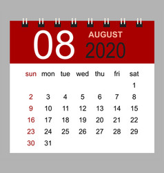 simple desk calendar for august 2020 vector image