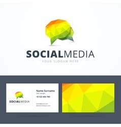 Social media logo and business card template vector