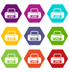 Sports bag icon set color hexahedron vector