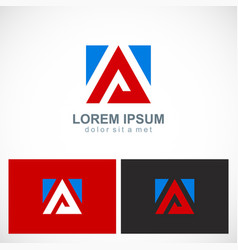 square triangle letter a logo vector image