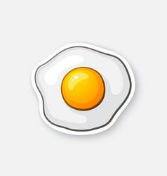 Sticker one fried egg vector