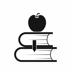 Two books and apple icon simple style vector image