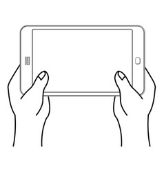 two hand and tablet smartphone man is holding vector image