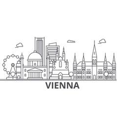 Vienna architecture line skyline vector