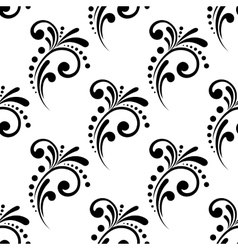 Vintage scrolling floral seamless pattern vector image