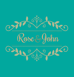 Wedding logo rose and john image vector