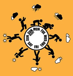 Weekly working life evolution wheel vector