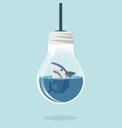 white shark in light bulb flat design vector image