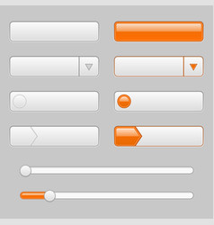 white web interface buttons with orange tags vector image