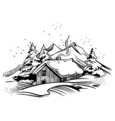 winter landscape with a house hand-drawn vector image
