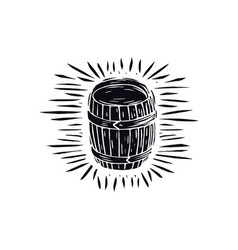 Wood barrel in linocut style vector