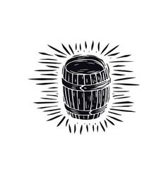 wood barrel in linocut style vector image