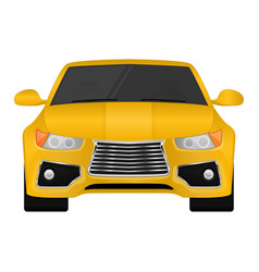 yellow car front view vector image