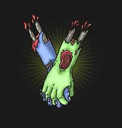 zombie hand togetherness concept vect vector image
