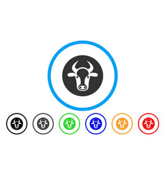 bull head rounded icon vector image