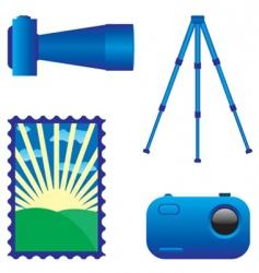 digital photo camera and tripod vector image