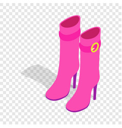 female pink high boots isometric icon vector image vector image