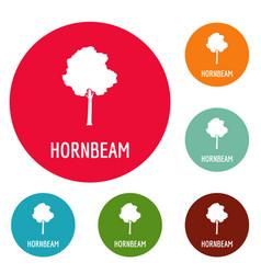 hornbeam tree icons circle set vector image