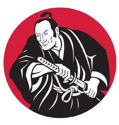 japanese samurai warrior vector image vector image