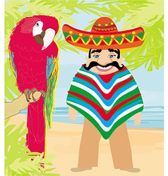 Mexican typical man and colorful parrot vector image