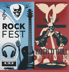 music flyer set vector image vector image
