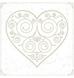 Vintage heart luxury logo sign or symbol vector image