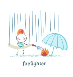 firefighter stands in the rain and extinguish the vector image vector image