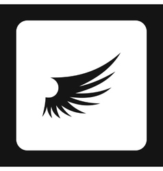 Long birds wing with feathers icon simple style vector image