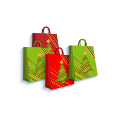 shopping bag set decorated with christmas trees vector image vector image
