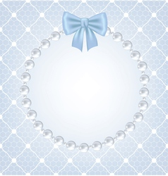 white net lace with bow and pearl frame vector image vector image