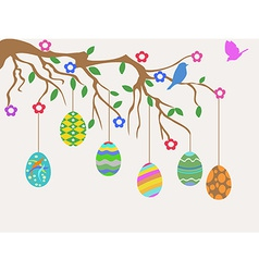 easter egg hanging on tree and birds flowers card vector image