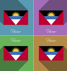Flags Antigua and Barbuda Set of colors flat vector image