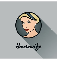 Housewife Retro icon with long shadow vector image