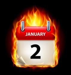 second january in calendar burning icon on black vector image vector image