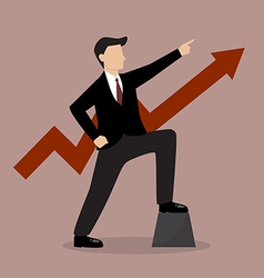 Businessman with graph up vector image vector image
