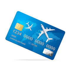 realistic 3d detailed credit card with plane vector image