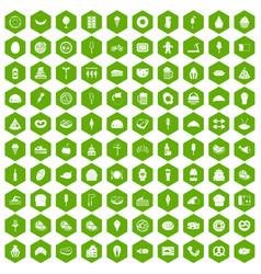 100 calories icons hexagon green vector