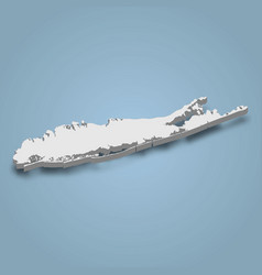 3d isometric map long island is an island in vector