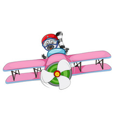 a raccoon riding airplane vector image
