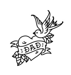 a tattoo with inscription dad heart tattoo vector image