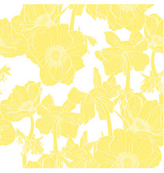 Anemone seamless pattern yellow line flowers vector