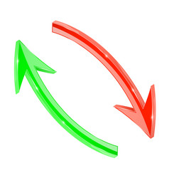 Arrows red and green 3d arrows in circular motion vector