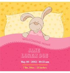 baarrival card - sleeping bunny vector image